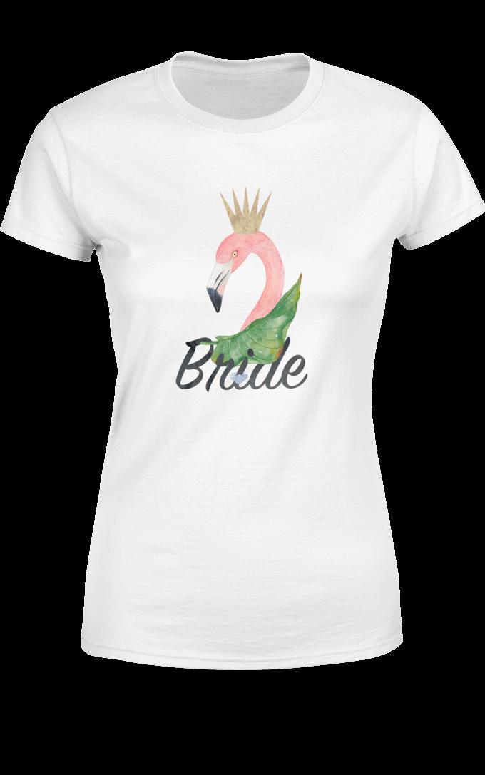 Тениска за моминско парти Bride с фламинго
